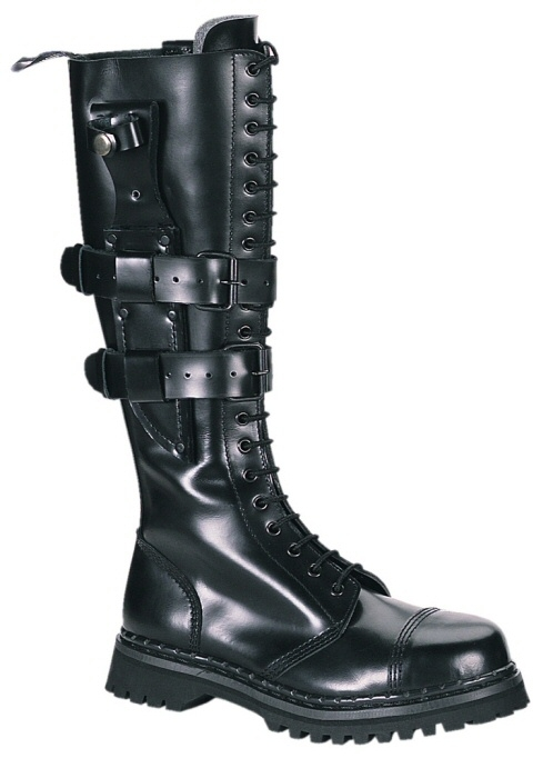Predator Men's Leather Combat Boots with Buckled Knife Sheath