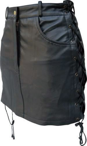 Ladies SOLID LEATHER skirt with side laces Lambskin