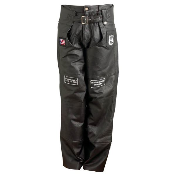 Pebble Grain Genuine Leather Motorcycle Chaps