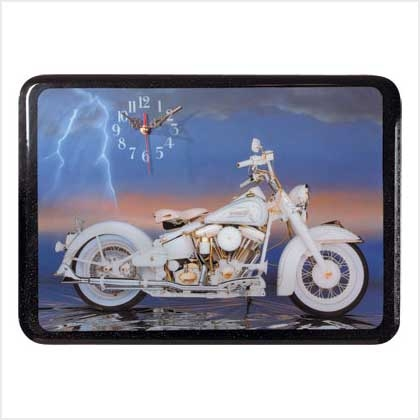 Work of Art White Motorcycle Clock