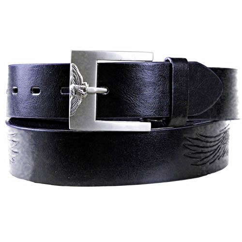 Black Leather Eagle Jean Belt