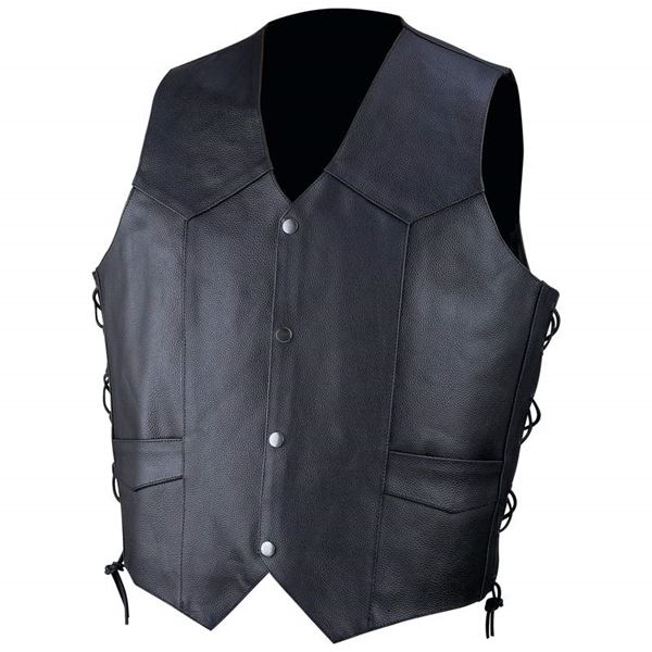 Solid genuine cowhide leather vest