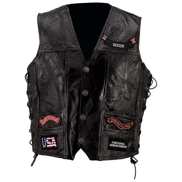 Diamond Plate genuine buffalo leather vest