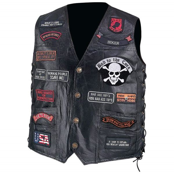 Buffalo Leather Biker Vest with 23 Patches