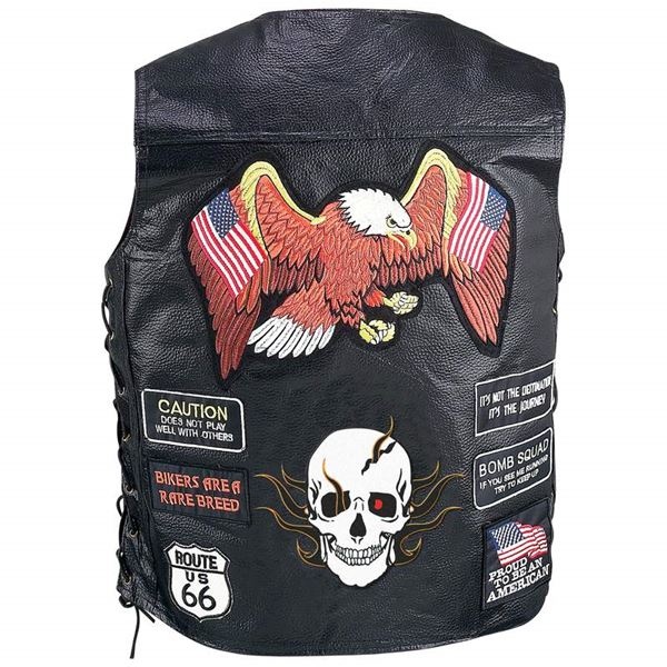 Buffalo Leather Biker Vest with 23 Patches 1