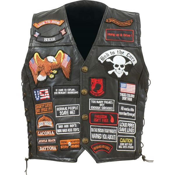 Buffalo leather biker vest with 42 patches