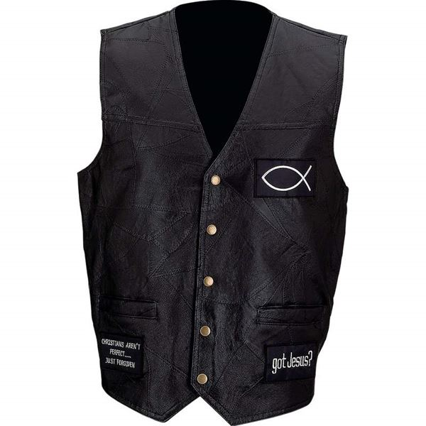 Genuine leather vest with christian patches