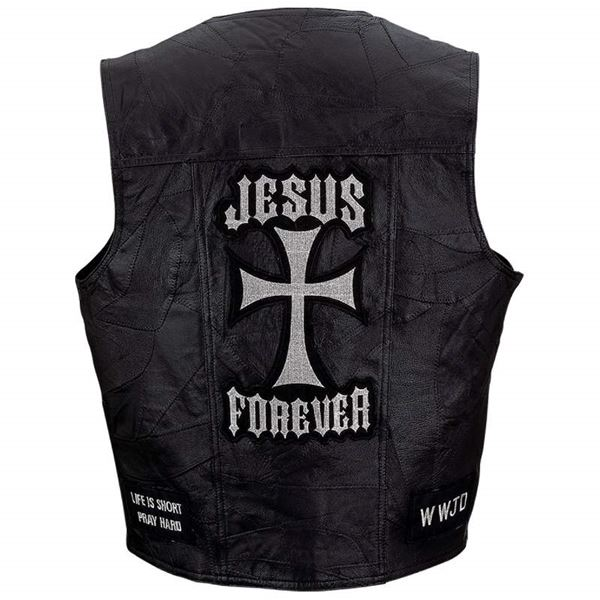 leather christian vest with patches 1