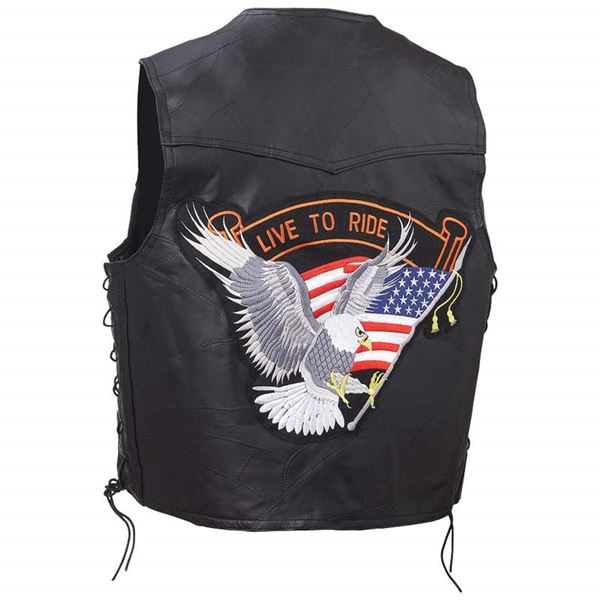 Genuine buffalo leather vest live to ride eagle patch