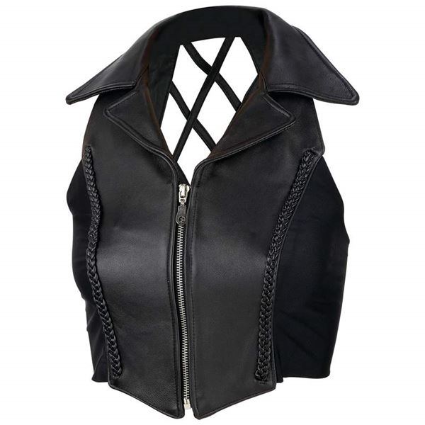 Ladies solid leather vest with crosshatch back
