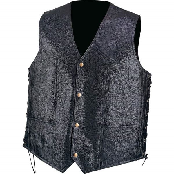 Hand sewn pebble grain genuine leather vest
