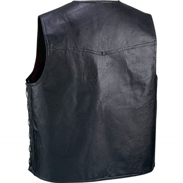 Hand sewn pebble grain genuine leather vest 1