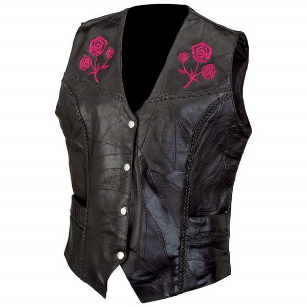 Genuine buffalo leather vest with embroidered rosesl