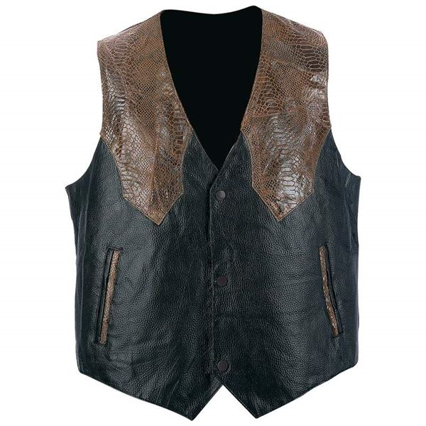 Hand sewn pebble grain leather western style vest