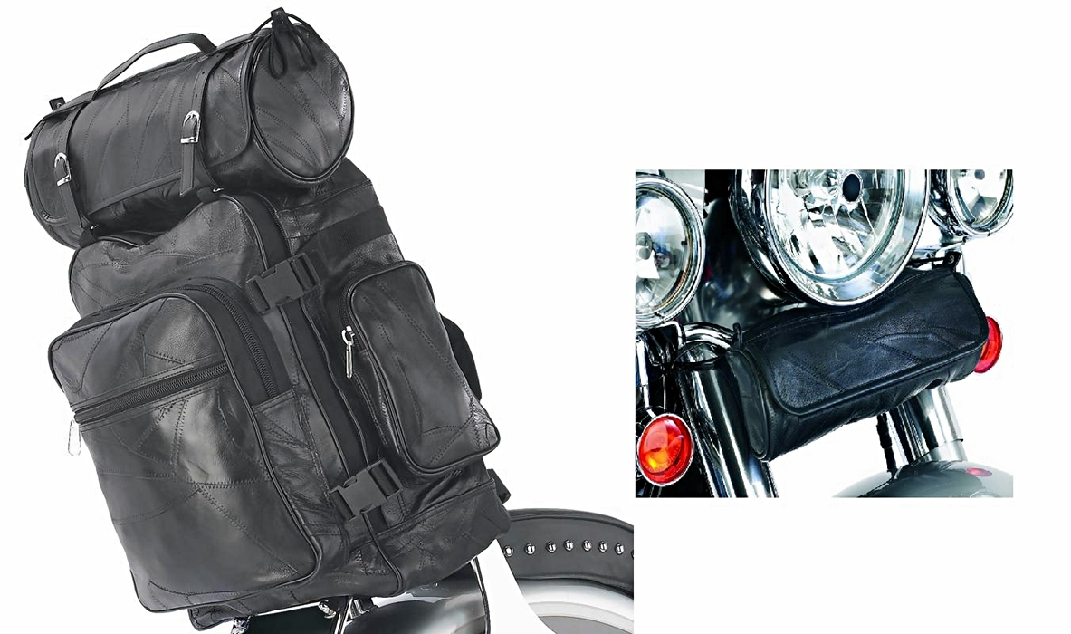3pc Genuine Buffalo Leather Motorcycle Bag Set