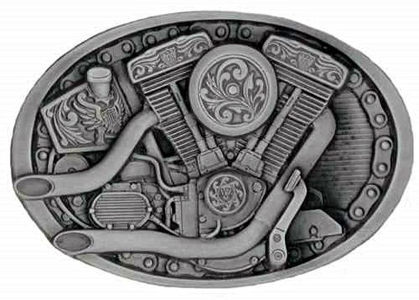 V-Twin Engine Biker Buckle detailed scene of a V-Twin