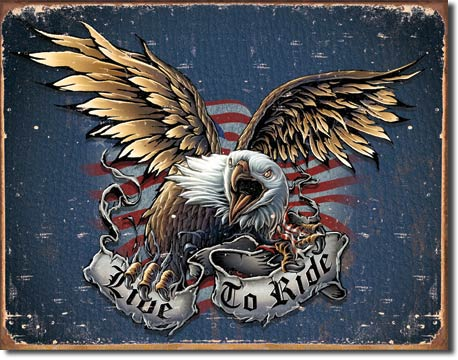 Live to Ride - Eagle With Banner Tin Sign