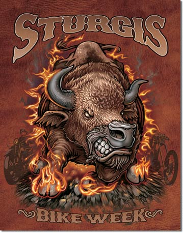 Sturgis Bike Week Tin Sign - Bison