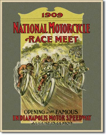 1909 National Motorcycle Race Meet Tin Sign