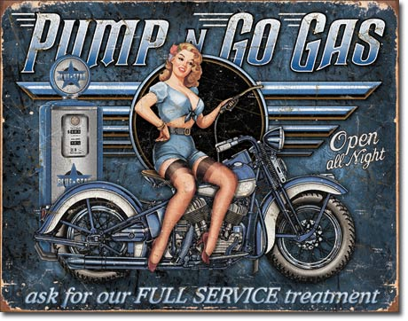 Tin Sign Pump n Go Gas - Open All Night