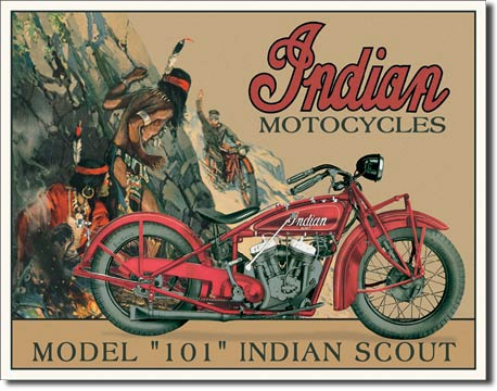 Tin Sign Indian Scout model 101