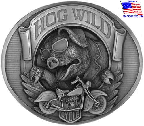 Natural Finish Hog Wild Biker Belt Buckle
