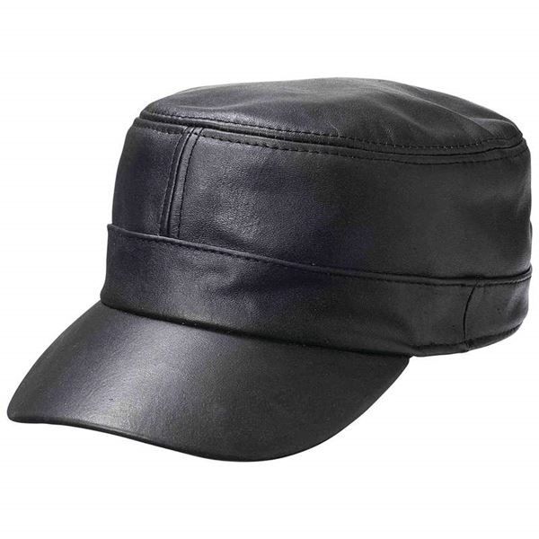 Solid lambskin leather cap
