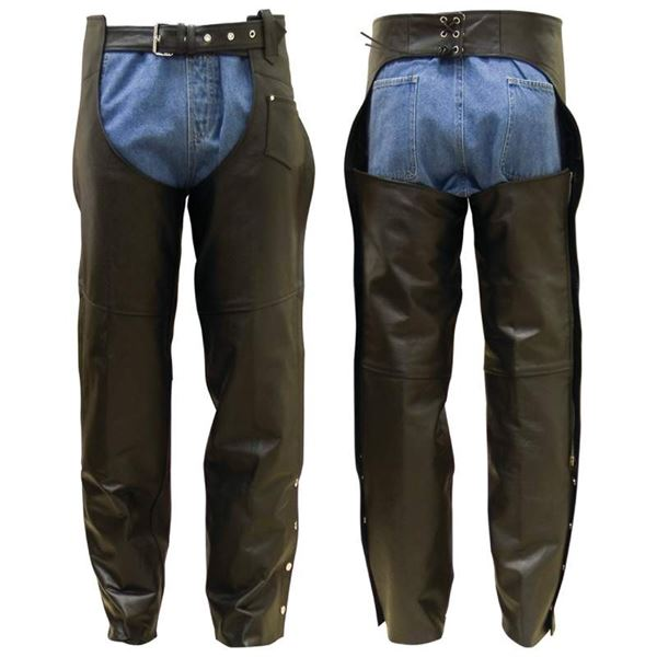 Unisex Solid Genuine Buffalo Leather Chaps