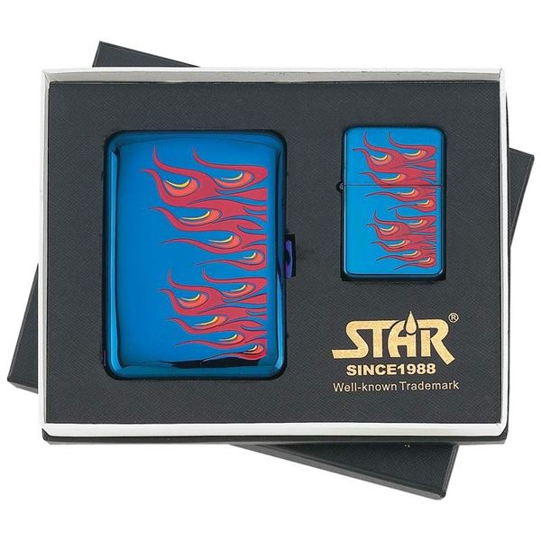 Blue Ice Lighter Set With Flames