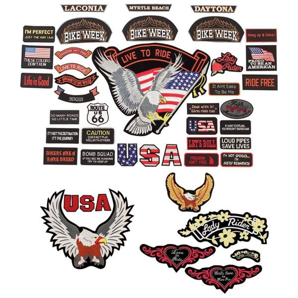 41pc Embroidered Biker Patch Assortment