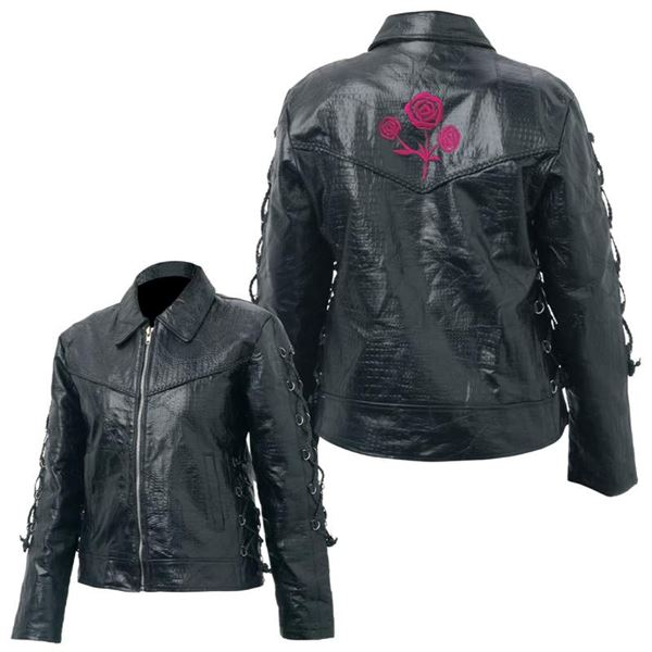 Ladies Hand-Sewn Roses Genuine Buffalo Leather Motorcycle Jacket