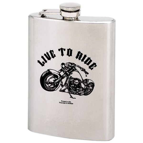 LIVE TO RIDE 8oz Stainless Steel Hip Flask