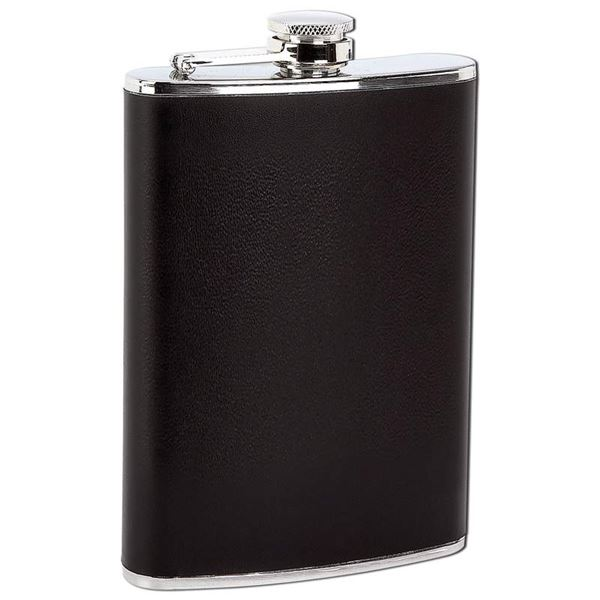 8oz Stainless Steel Flask with Black Wrap
