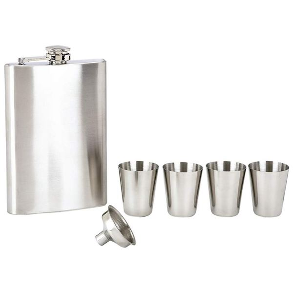 6pc Stainless Steel Flask Set includes 8oz flask