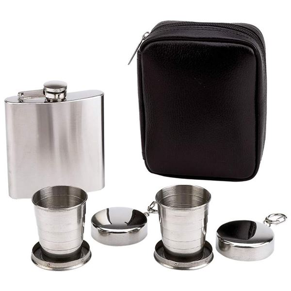 4pc Flask and Collapsible Cups Set