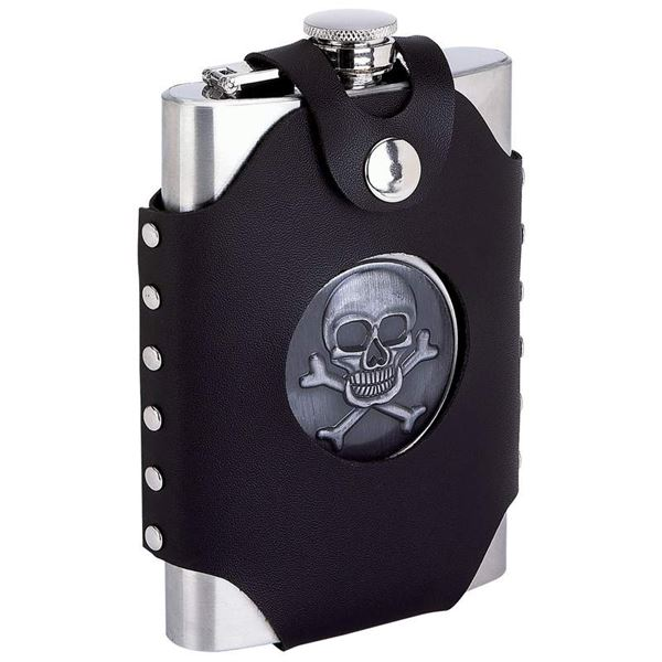 8oz Flask with Skull Cross Bones