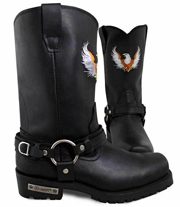 Bald Eagle Embroidery Super Harness Boots