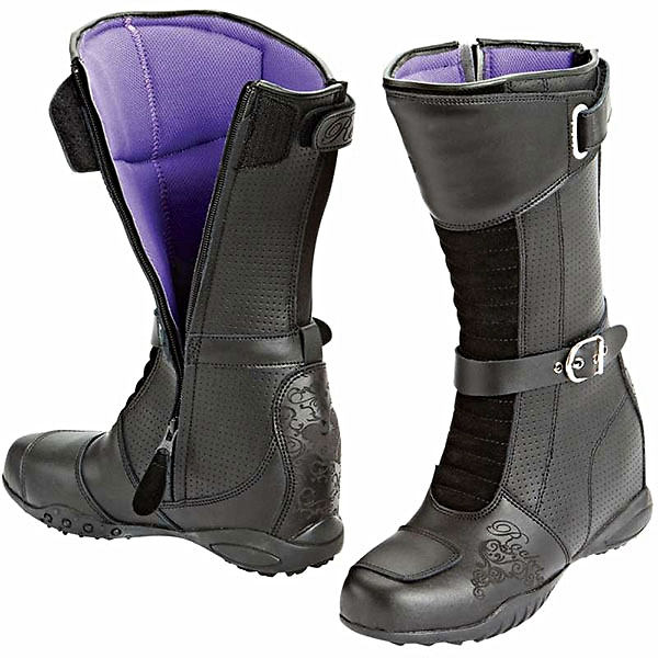 Womens Black Leather Motorcycle Boots
