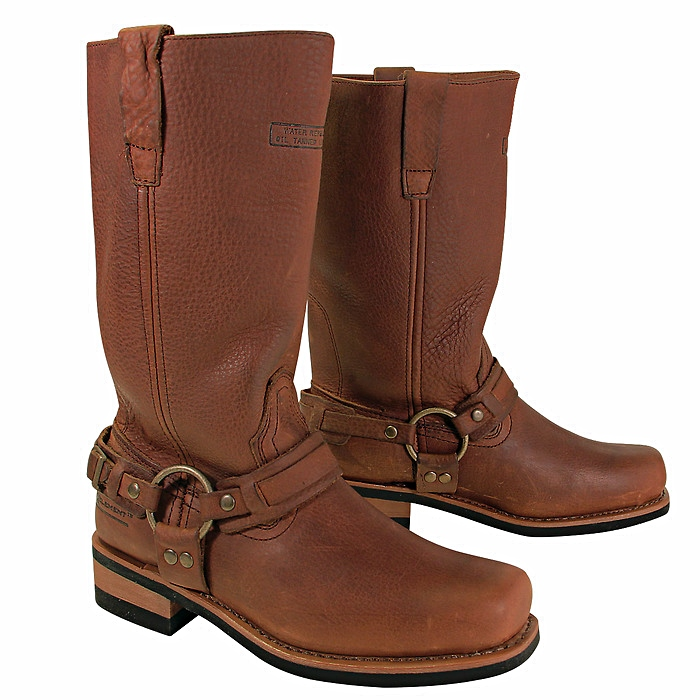 Crushed Dark Brown Harness Boots