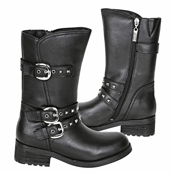Three Buckle Women's Biker Engineer Boots