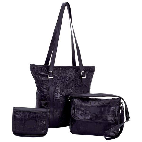 Black Genuine Leather 3pc Purse Set with Crocodile Embossing