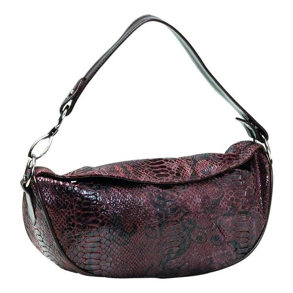 Brown Faux Snakeskin Purse