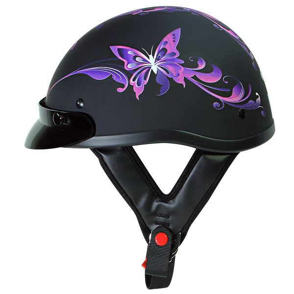 Purple Butterfly Half Helmet