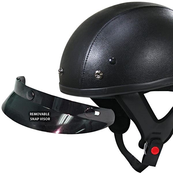 Black Leather Motorcycle Helmet