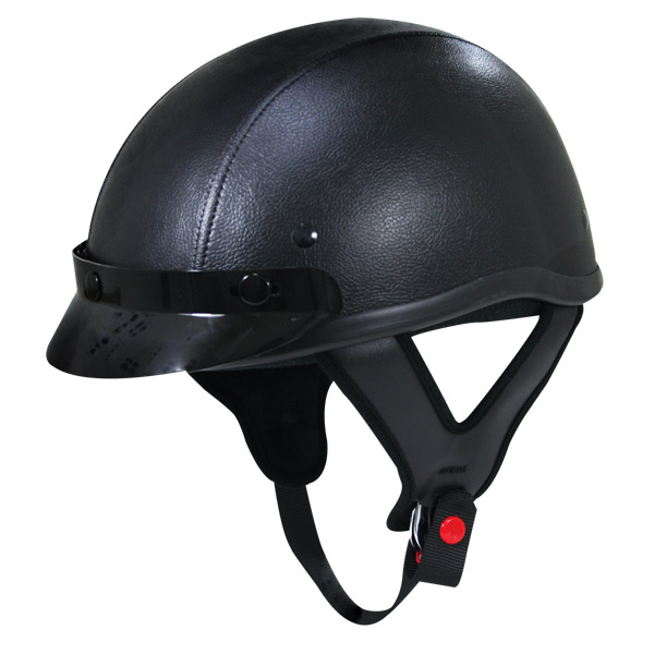 Dark Rider Leather 3-Snap Visor Half Helmet