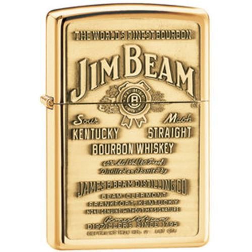 High Polish Brass Jim Beam Brass Emblem Zippo Lighter