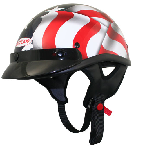 OUTLAW DOT Black 3D American Flag Half Helmet