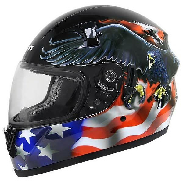 Full Face Motorcycle Helmet With Usa Flag And Eagle By